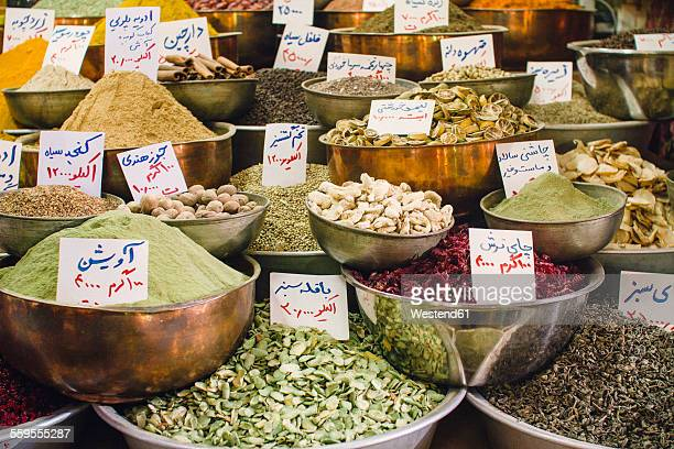 Iran, Shiraz, Spices at Vakil bazaar