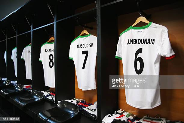 Iran shirts hang in the dressing room prior to the 2014 FIFA World Cup Brazil Group F match between BosniaHerzegovina and Iran at Arena Fonte Nova on...