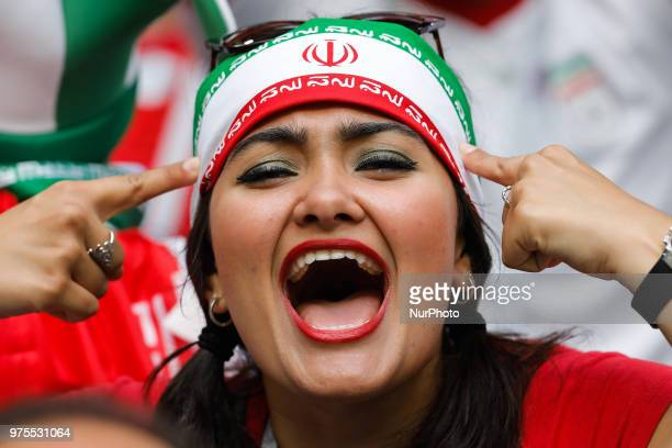 IR Iran supporters during the 2018 FIFA World Cup Russia Group B match between Morocco and IR Iran on June 15 2018 at Saint Petersburg Stadium in...