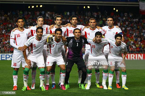 Iran team pose for photo team during the FIFA 2014 World Cup Qualifier match between South Korea and Iran at Munsu Cup Stadium on June 18 2013 in...