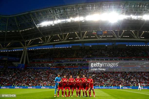 Iran team pose prior to the 2018 FIFA World Cup Russia group B match between Iran and Spain at Kazan Arena on June 20 2018 in Kazan Russia