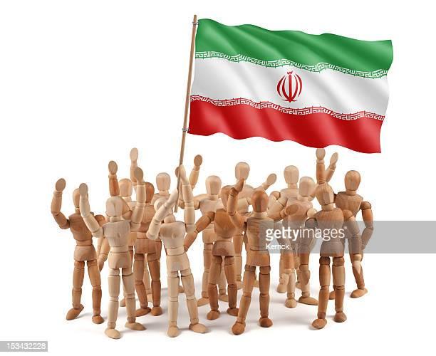 iran-gruppo di manichini in legno con bandiera - modella per artisti foto e immagini stock