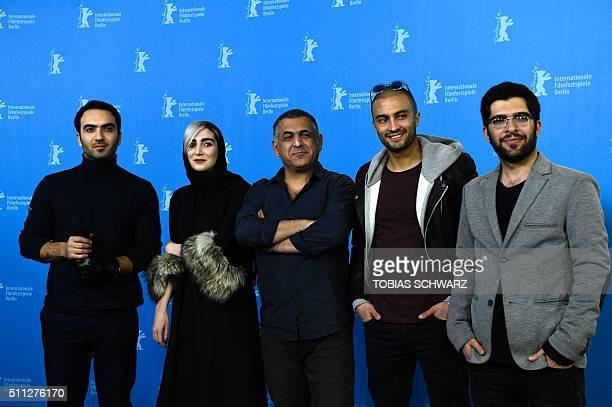 Iranian actor Homayoun Ghanizadeh actress Kiana Tajammol director Mani Haghighi actor Amir Jadidi and Ehsan Goudarzi attend a photocall for the film...