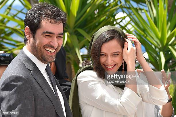 Iranian actor Shahab Hosseini and Iranian actress Taraneh Alidoosti arrive on May 21 2016 during a photocall for the film The Salesman at the 69th...