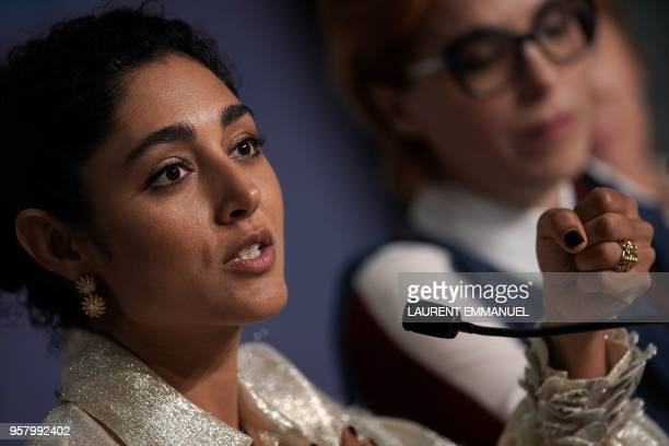 Iranian actress Golshifteh Farahani speaks on May 13 2018 during a press conference for the film 'Girls of The Sun ' at the 71st edition of the...