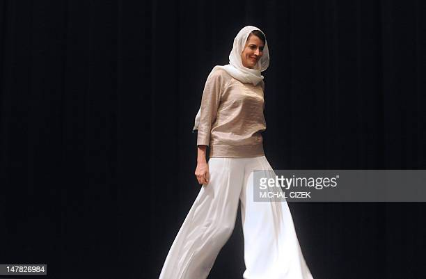 Iranian actress Leila Hatami walks on stage during the presentation of the film ''The last step'' in competition at the 47th Karlovy Vary...
