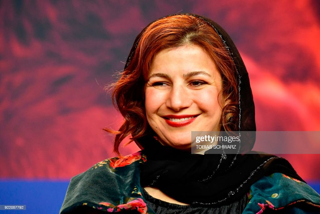 Iranian actress Leili Rashidi attends a press conference to present the film 'Pig' (Khook) presented in competition during the 68th edition of the Berlinale film festival in Berlin on February 21, 2018. / AFP PHOTO / Tobias SCHWARZ