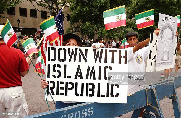 Iranian Americans demonstrated from the Iran Mission to the United Nations, on the anniversary of student uprising in 1999. Demonstrators carried...