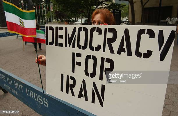 Iranian Americans demonstrated from the Iran Mission to the United Nations on the anniversary of student uprising in 1999 Demonstrators carried...