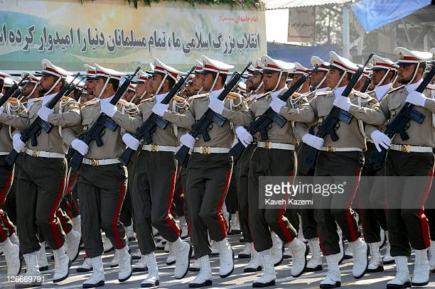 Iranian armed forces march during a parade commemorating the 31st anniversary of Iran-Iraq war on September 22, 2011 in Tehran, Iran. Iran is holding...