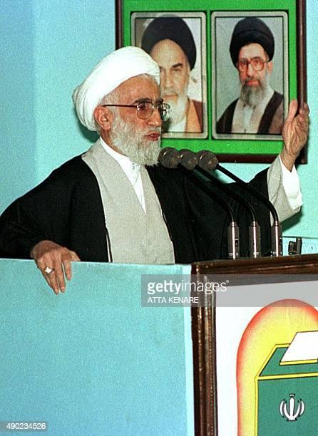 Iranian Ayatollah Ahmad Jannati addresses a Friday prayer gathering at Tehran university 19 February Jannati threatened British author Salman Rushdie...