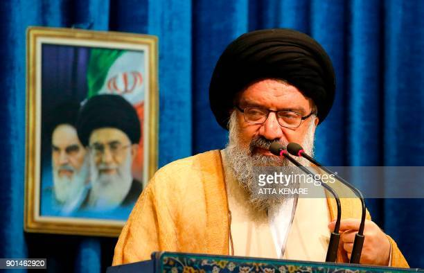 Iranian Ayatollah Ahmad Khatami delivers his speech during the Friday Prayer ceremony at the Imam Khomeini mosque in Tehran on January 5 2018 New...