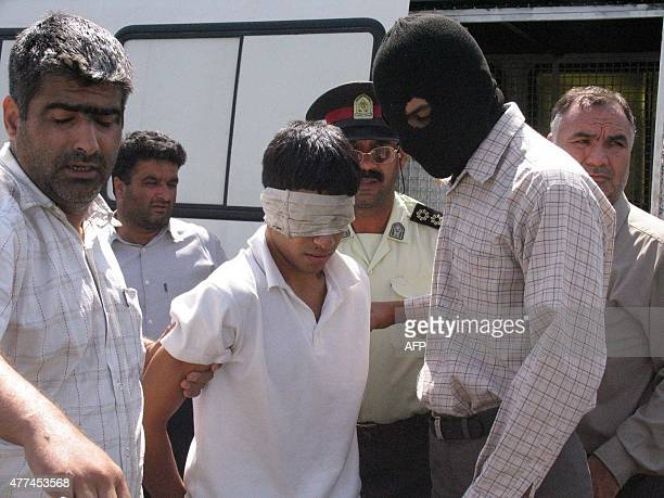 Iranian Ayaz Marhoni prior to his execution along with Mahmud Asgari on July 18 2005 in the northeastern city of Mashhad The two teenagers convicted...