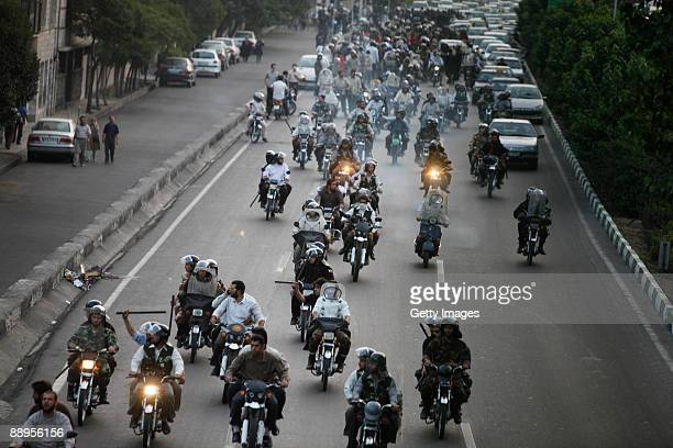 Iranian Basij ride motorcyles while policing demonstrations on July 9, 2009 in Tehran, Iran. Following recent unrest in the wake of the disputed...