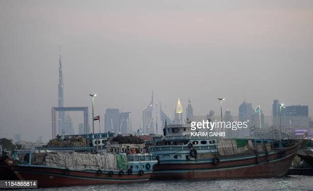 Iranian boats carrying commercial goods mainly food ingredients are docked at Ras alKhor in Dubai on July 10 2019