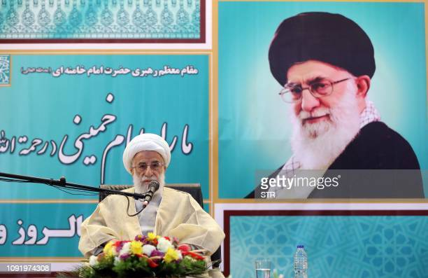 Iranian chairman of the Assembly of Experts Ahmad Jannati delivers a speech at the mausoleum of Iran's late founder of the Islamic Republic Ayatollah...