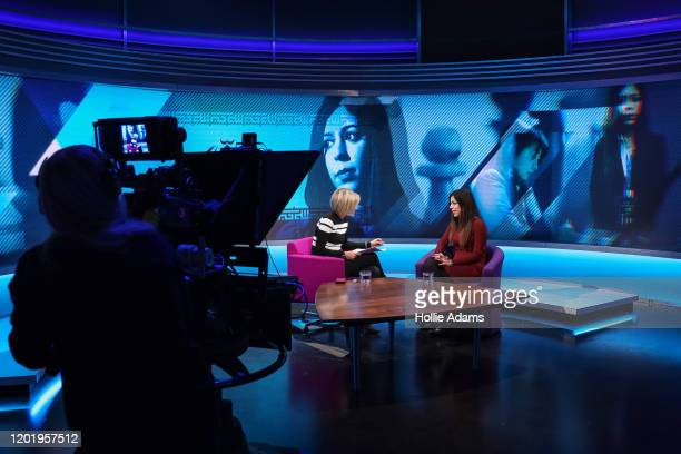 Iranian chess arbiter Shohreh Bayat during a television interview with Emily Maitlis for BBC Newsnight on February 19 2020 in London England Ms Bayat...