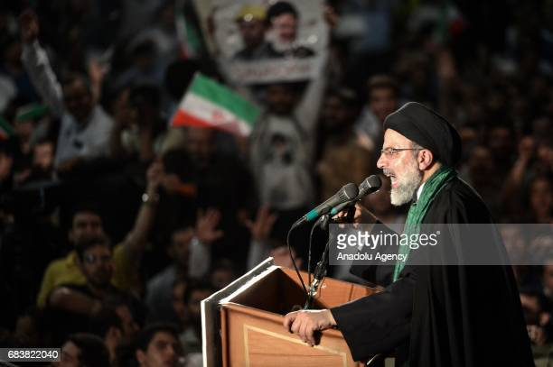 Iranian cleric and presidential candidate Ebrahim Raisi addresses to his supporters during a rally prior to presidential elections in Tehran Iran on...