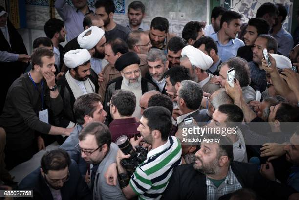Iranian cleric and presidential candidate Ebrahim Raisi casts his ballot during Iran's 12th presidential election at Irshad Mosque in ShahreRay...
