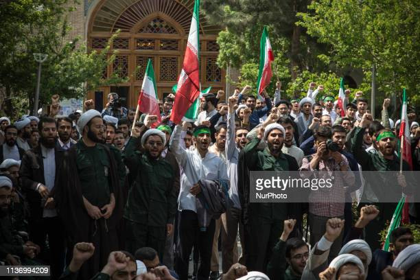 Iranian Clerics chant slogans during an antiUS rally in Tehran on April 14 2019 The US government on 08 April 2019 said it had designated Iran's...