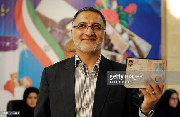Iranian conservative presidential candidate, Alireza Zakani, registers his candidacy for the upcoming presidential elections at the ministry of...