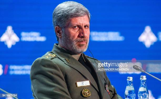 Iranian Defense Minister Amir Hatami attends the VII Moscow Conference on International Security MCIS2018 in Moscow on April 4 2018 / AFP PHOTO /...