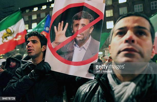 Iranian demonstrators protest against the election of Iran's President Mahmoud Ahmadinejad on December 17 2009 in Copenhagen Denmark Ahmadinejad is...