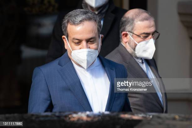 Iranian deputy foreign minister Abbas Araghchi leaves after the Iran nuclear talks on April 6, 2021 in Vienna, Austria. Representatives from the...