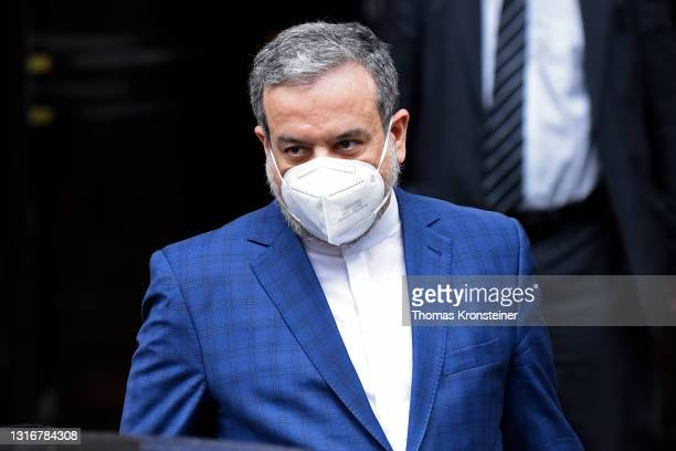 Iranian deputy foreign minister Abbas Araghchi leaves the Grand Hotel on the day the JCPOA Iran nuclear talks are to resume on May 7, 2021 in Vienna,...