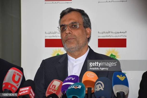 Iranian Deputy Foreign Minister Hossein Jaberi Ansari speaks to media after his meeting with Lebanese Foreign Minister Gebran Bassil in Beirut...