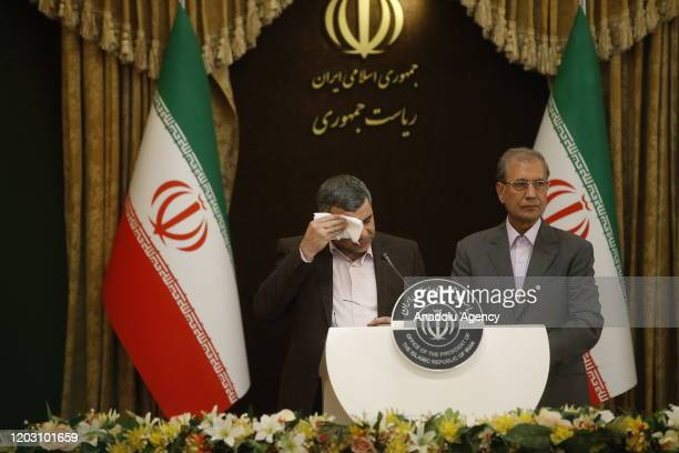 Iranian Deputy Health Minister Iraj Harirchi wipes his sweating as he speaks on his tests positive for coronavirus as he holds a press conference...