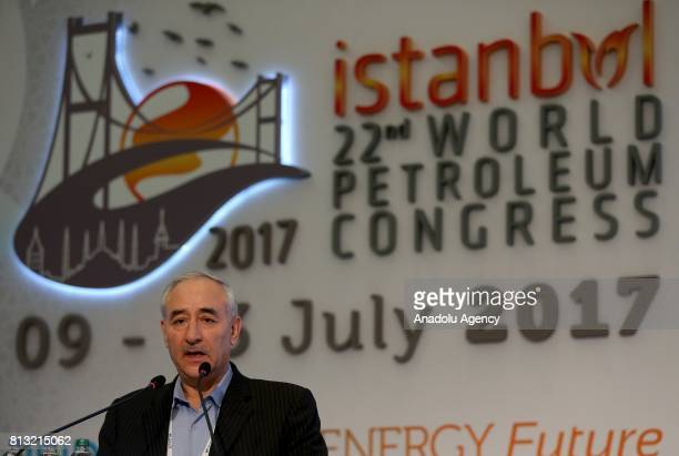 Iranian Deputy Minister of Petroleum Dr Amir Hossein Zamaninia delivers a speech during the 22nd World Petroleum Congress in Istanbul Turkey on July...