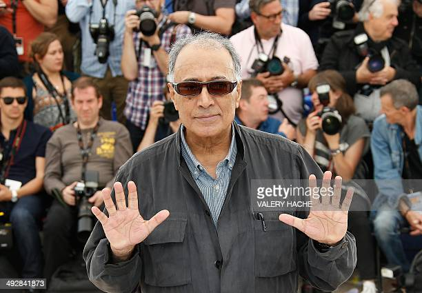 Iranian director and President of the Cinefondation Jury Abbas Kiarostami poses during a photocall of 'The Cinefondation Jury' at the 67th edition of...