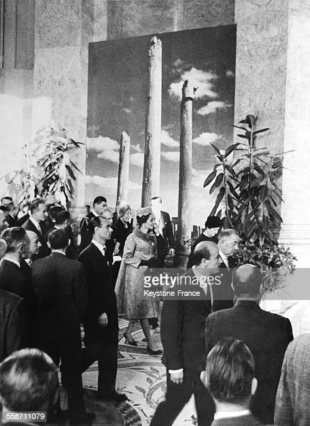 Iranian Empress and Emperor with Yvonne de Gaulle visit an Iranian Art Exhibition in Paris France on October 13 1961
