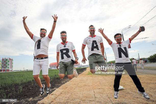 Iranian fans before the 2018 FIFA World Cup Russia group B match between Iran and Portugal at Mordovia Arena on June 25, 2018 in Saransk, Russia.