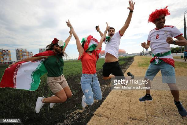 Iranian fans before the 2018 FIFA World Cup Russia group B match between Iran and Portugal at Mordovia Arena on June 25 2018 in Saransk Russia