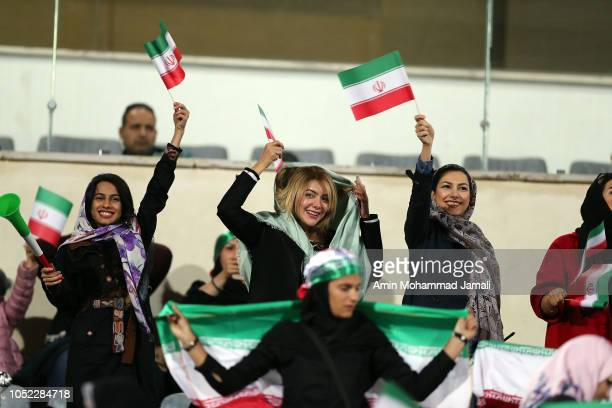Iranian female fans in the grandstand during the international friendly match between Iran and Bolivia at Azadi Stadium on October 16 2018 in Tehran...