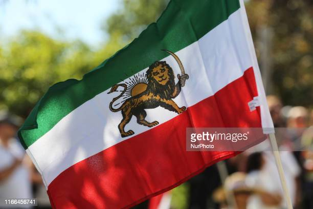 Iranian flag seen during the first ever Persian parade in Toronto Ontario Canada on August 31 2019 The parade showcased traditional costumes that...