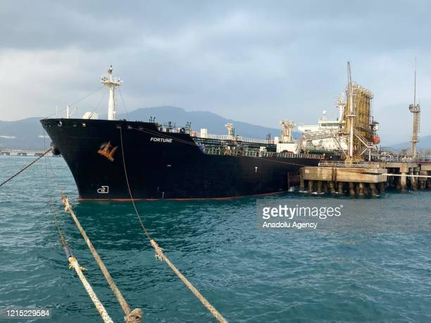Iranian flagged fuel tanker 'Fortune' is seen after it was docked at El Palito refinery in Puerto Cabello, state of Carabobo, Venezuela, on May 26,...