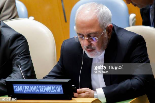 Iranian Foreign Affairs Minister Mohammad Javad Zarif attends the Highlevel Meeting on Peacebuilding and Sustaining Peace at the General Assembly in...
