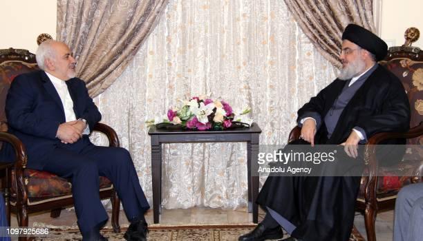 Iranian Foreign Minister Javad Zarif and Hezbollah Secretary-General Hassan Nasrallah meet in Beirut, Lebanon on February 11, 2019.