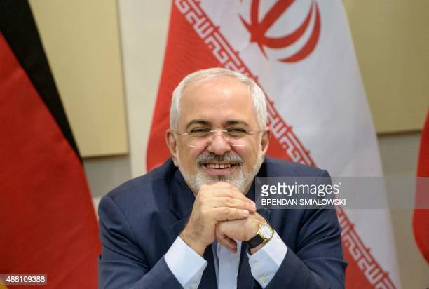 Iranian Foreign Minister Javad Zarif as he waits for the start of a meeting with P51 European Union and Iranian officials at the Beau Rivage Palace...