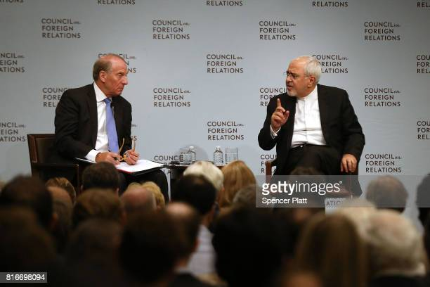 Iranian Foreign Minister Javad Zarif discusses current developments in the Middle East with Richard N Haass at the Council on Foreign Relations on...