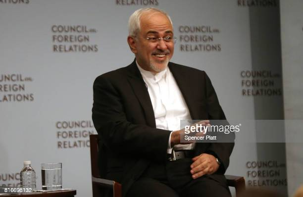 Iranian Foreign Minister Javad Zarif discusses current developments in the Middle East with Richard Haass at the Council on Foreign Relations on July...