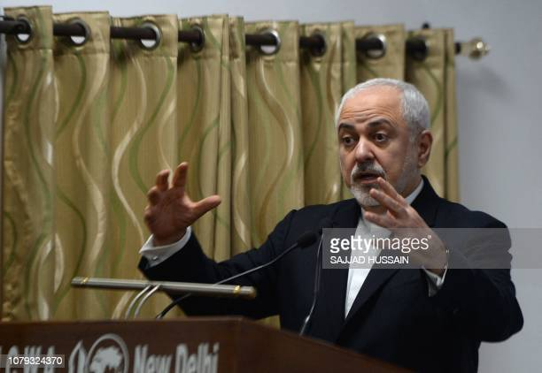 Iranian Foreign Minister Javad Zarif speaks at the geopolitical discussion event Iran Regional and Global Prespective for 2019 in New Delhi on...