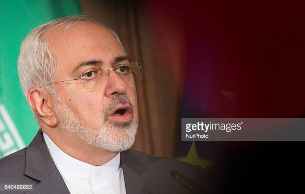 Iranian Foreign Minister Javad Zarif speaks during a news conference hold with German Foreign Minister FrankWalter Steinmeier at the Villa Borsig...