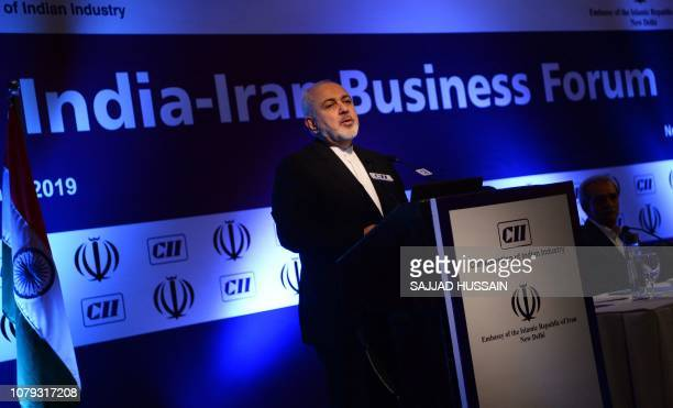 Iranian Foreign Minister Javad Zarif speaks during the IndiaIran Business Forum in New Delhi on January 8 2019 Iran will boost trade with India as...