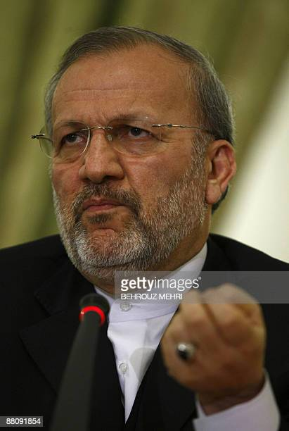 Iranian Foreign Minister Manouchehr Mottaki holds a press conference in Tehran on June 1 2009 Mottaki told reporters a shadowy Sunni rebel group...