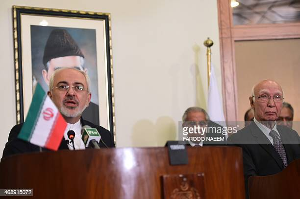 Iranian Foreign Minister Mohammad Javad Zarif addresses a joint press briefing along with Sartaj Aziz advisor to Pakistani Prime Minister on Foreign...