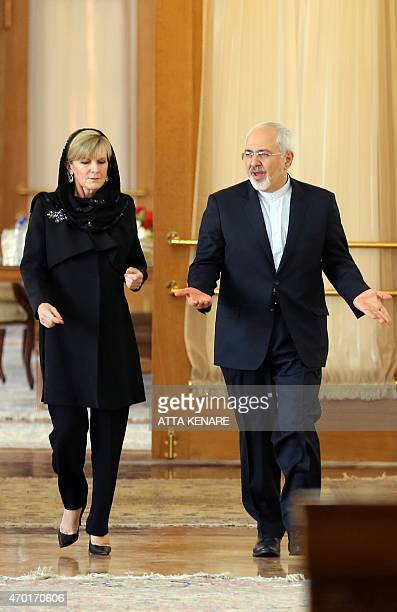 Iranian Foreign Minister Mohammad Javad Zarif and his Australian counterpart Julie Bishop arrive to hold a press conference following a meeting in...